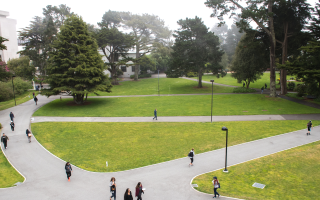 Students walking in main quad